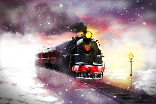 Railway, Train, Winter, Snow, Steam Locomotive, Rails