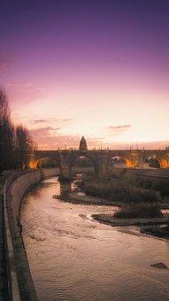 Night, Purple, Sky, River, Bridge, Dawn