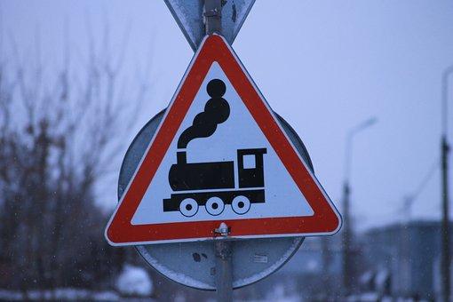 Sign, Railway, Railway Crossing, Train, Carefully, Road