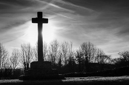 Silhouette, Cross, Tree, Graves, Mystical, Shadow, Dark