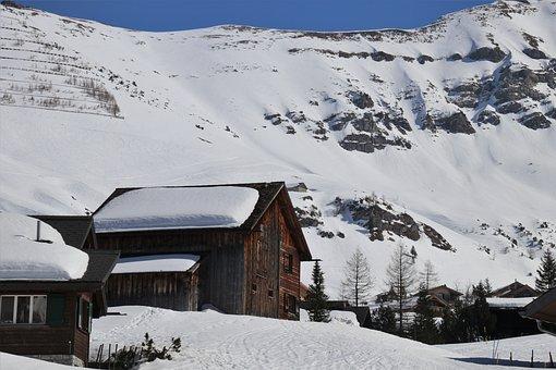 Wooden House, Tops, Snow, Mountains, Mountain, Travel