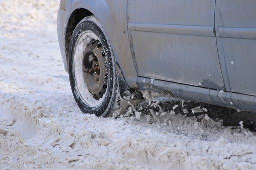 Snow, Car, Wheel, Slips, Stuck, Snowdrift, Frost, Cold