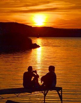 Nightfall, Sunset, Lake Balaton, Silhouette, Light