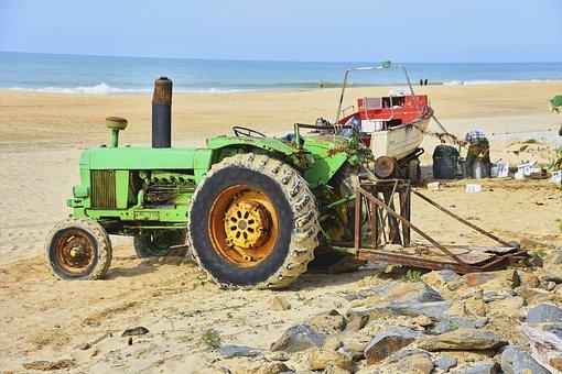 Old Tractor, Sea, Towing, Tractors, Drag, Veteran
