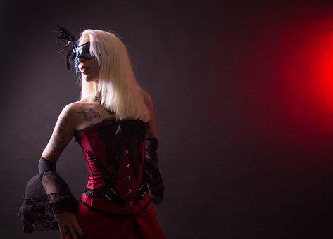 Steampunk, Fashion, Victorian, Costume, Red, Model