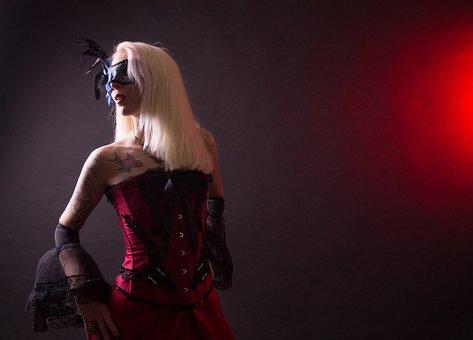 Steampunk, Fashion, Victorian, Costume, Red, Model