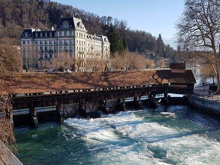 Wooden Bridge, Aare, Water Power, River, Water, Energy