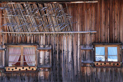 Old Windows, Hut, Wooden Cottage, Boards, Shutters