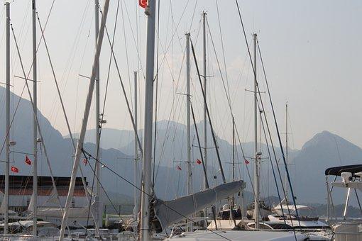 Yachts, Mast, Yacht, Sea, Boat, Water, Ship, Marina