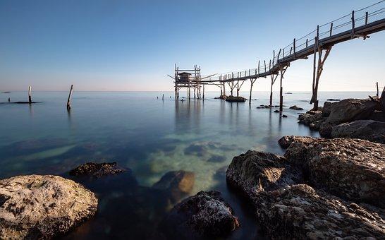 Blue, Overflow, Sea, Trabocchi, Abruzzo, Fishing