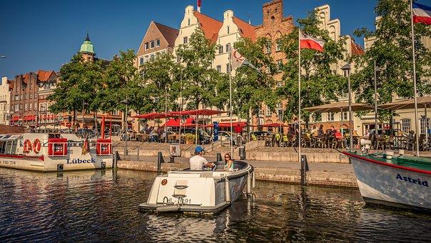 Lübeck, Waters, Water, Promenade, Boat, Architecture