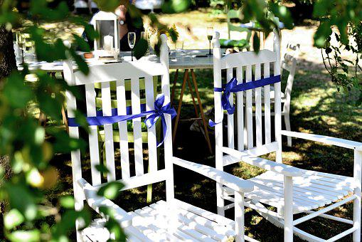 Chairs, Wood Chairs, Wedding, Pair, Two, Sit, Garden