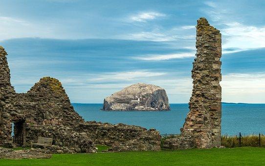 Bass Rock, Tantallon Castle, Scotland, Ruin, Coast