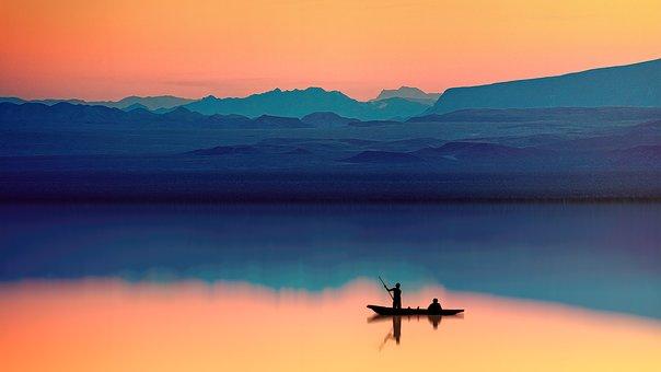 Water, Boat, Human, Fisherman, Mirroring, Mountains