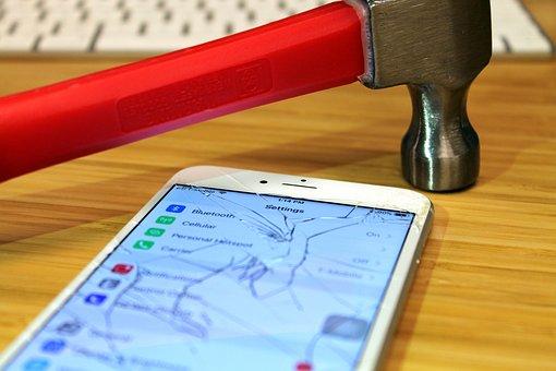 Apple, Iphone, Broken, Screen, Hammer, Smartphone