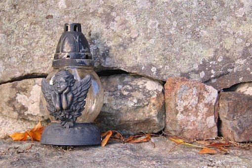 Grave, Lantern, Autumn, Metal, Angel, Gray, Grief