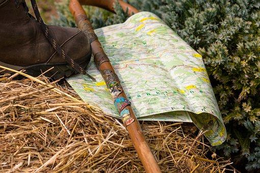Hiking, Walking Stick, Walk, Hiking Shoes, Wall Map