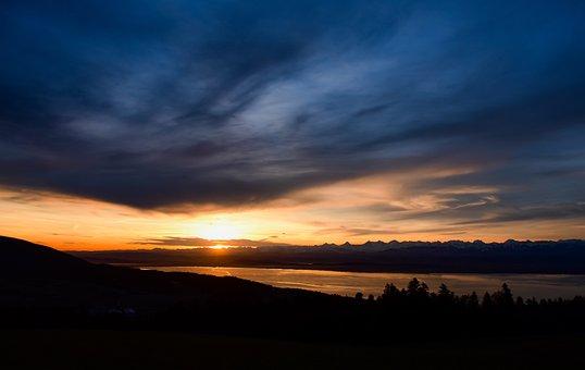 Sunrise, Clouds, Lake, Reflection, Mountain, Colors