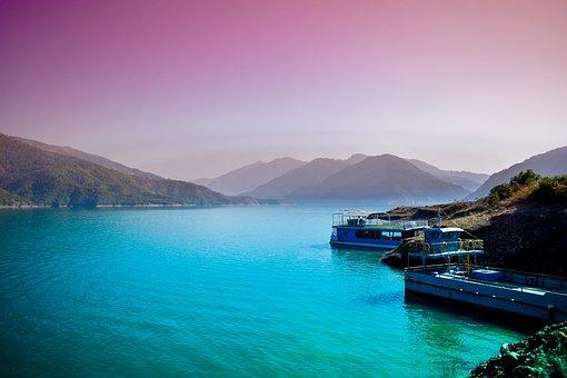 Horizon, Water, Sky, Lake, Colors, Hills, India, Ganga
