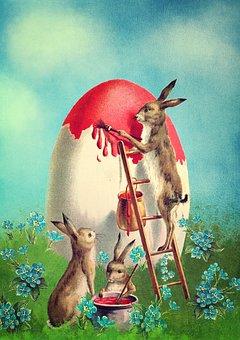 Osterkarte, Easter, Easter Bunny, Easter Egg, Vintage