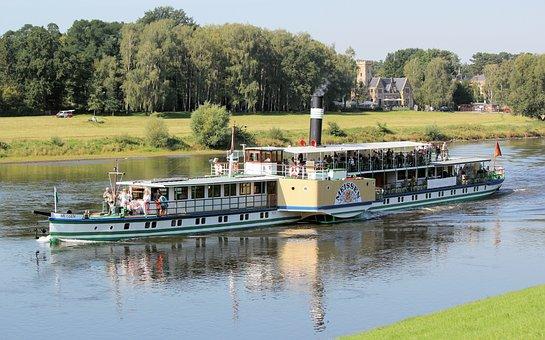 Ship, Steamer, Pleasure, Paddle, Meissen, River, Elbe