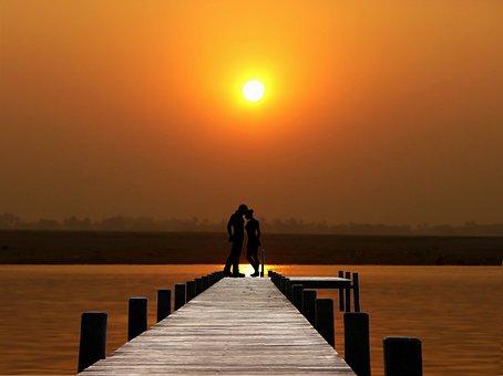 Sunset, Lake, Couple, Romance, Water, Sky, Landscape