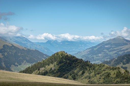Switzerland, Adelboden, Alpine, Mountains, Green, Sky