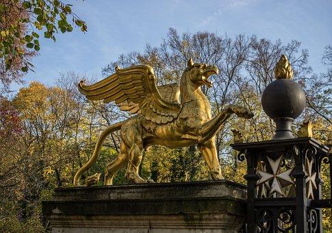 Lion, Bronze Statue, Statue, Pegasus