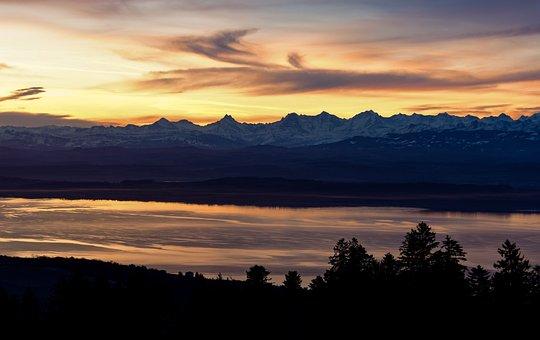 Mountains, Lake, Sunrise, Reflections, Morning, Colors