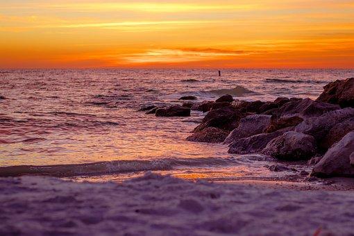 Sunset, Ocean, Florida, Orange, Golden Hour, Sea, Beach