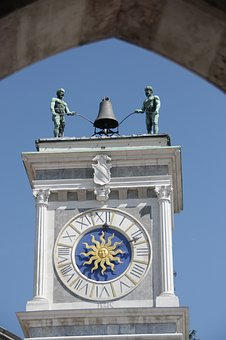 Clock, Tower, Udine, Italy, Architecture, City