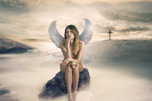 Angel, Fantasy, Wings, Smoking, Mist Rocks, Mountains