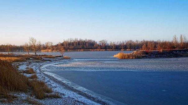 Winter, Lake, Frozen, Ice, Landscape, Sky, Wintry, Mood