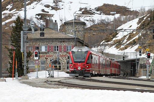Bernina, Train, Bernina Railway, Narrow Gauge