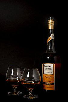 Calvados, Liquor, äpplekonjak, Glass, Bottle, Alcohol