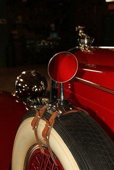 Rear, Views, Mirror, Tire, Car, Part, Old, Vintage