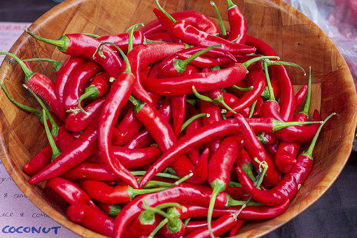 Chilli, Food, Hot, Red, Bowl, Market, Spicy, Vegetables