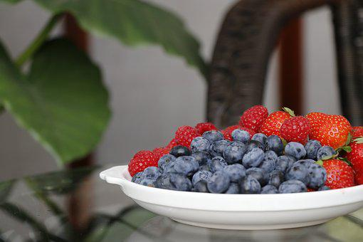 Blueberry, Berry, Fresh, Strawberry, A Bowl Of Berries
