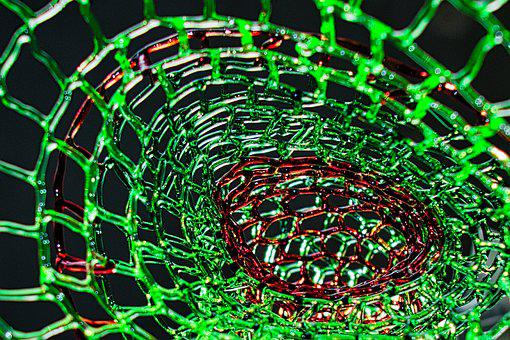 Glass Threads, Structure, Form, Geometric, Green, Red