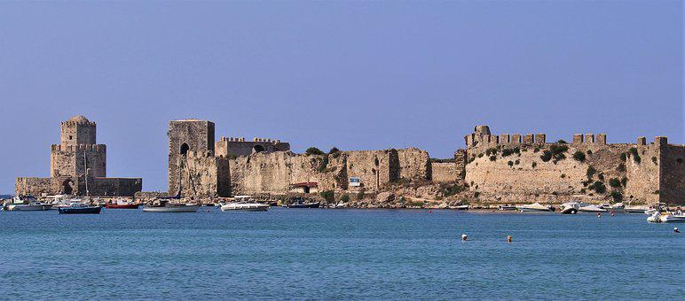 Methoni, Castle, Greece, Fortress, Old, Coast, Building