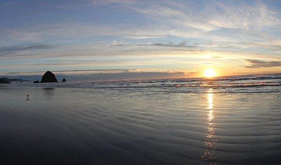 Cannon, Beach, Ocean, Sunset, Haystack, Coastline