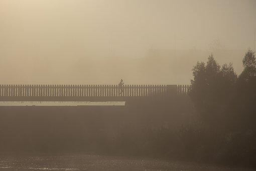 Misty, Bridge, Jogging, Morning, Early, Exercise, Water