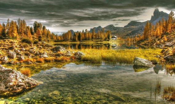Dolomites, Lago Federa, Alpine, Landscape, Mountains