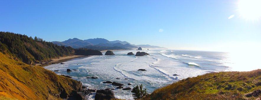 Cannon Beach, Pacific Ocean, Ecola, Oregon, Ocean