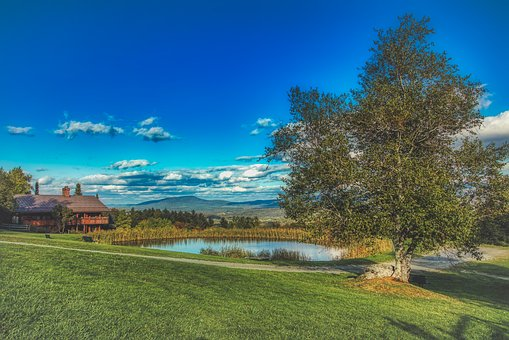 Vermont, New England, Pond, Sky, Clouds, Landscape