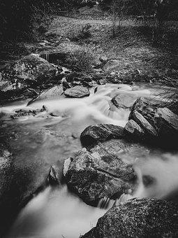 River, Nature, Water, White, Natural, Black And White