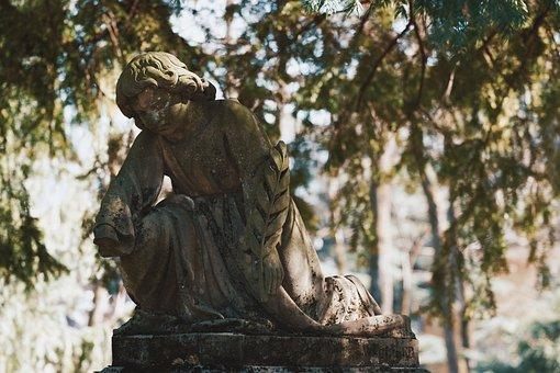 Sculpture, Child, Angel, Figure, Boy, Mourning, Statue