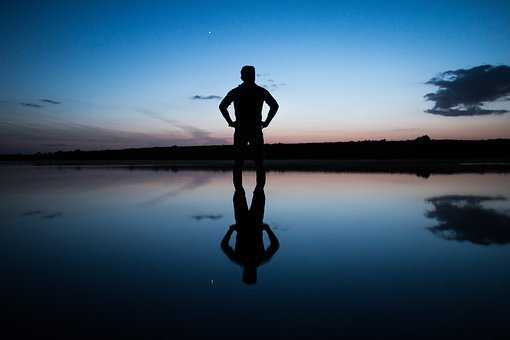 Reflection, Sunset, Sky, Blue, Person, Lake, Sea, Water