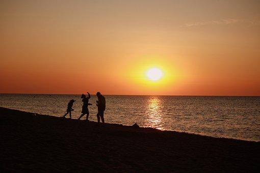 Sunset, Sea, Baltic Sea, Beach, Human, Plays Of Light