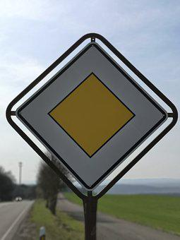 Traffic Sign, Right Of Way, Road Sign, Street Sign